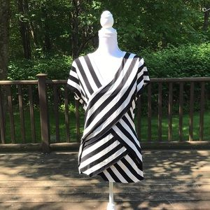 Vince Camuto XL striped layered S/S Top